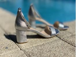 Босоножки кожаные серебряные Gracioso