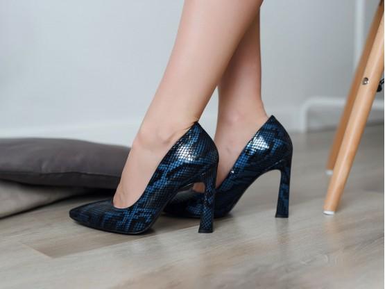 Туфли кожаные синие (рептилия)