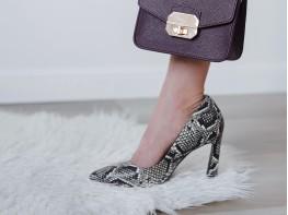 Туфли кожаные бежевые (рептилия)